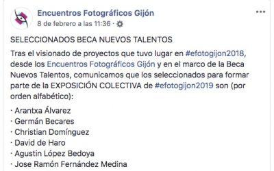 Encuentros Fotográficos de Gijón. Selected New Talent Scholarship